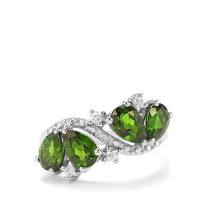 Chrome Diopside & White Zircon Sterling Silver Ring ATGW 3.07cts