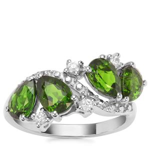 Chrome Diopside Ring with White Zircon in Sterling Silver 3.07cts