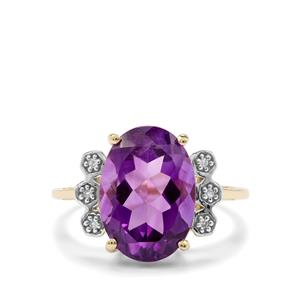 Zambian Amethyst Ring with Diamond in 10k Gold 5.46cts