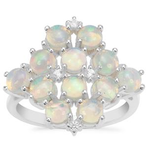 Ethiopian Opal Ring with White Zircon in Sterling Silver 2.17cts