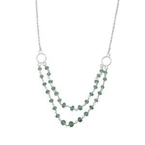 Colombian Emerald Bead Necklace in Sterling Silver 13cts