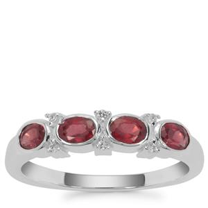 Malagasy Ruby Ring with White Zircon in Sterling Silver 1.03cts
