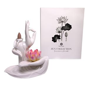 Zen Collection Backflow Incense Burner Set with Ten Sandalwood Incense Cones - WHITE