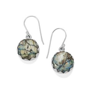 Azurite Diopside Earrings in Sterling Silver 21cts