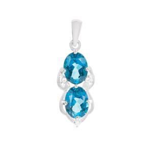 Ceylonese London Blue Topaz Pendant with White Zircon in Sterling Silver 3.13cts