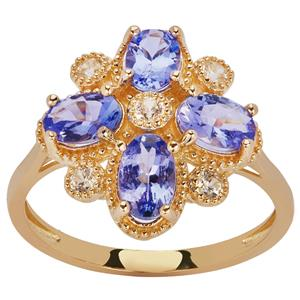 AAA Tanzanite Ring with White Zircon in 9K Gold 2.30cts