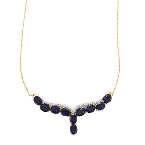 Bengal Iolite Necklace with White Zircon in 9K Gold 10.74cts