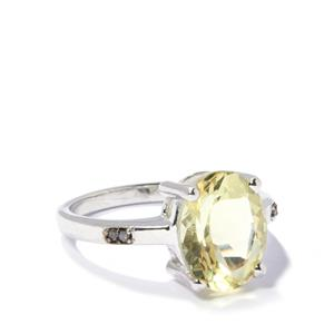 Citron Feldspar & Champagne Diamond Sterling Silver Ring ATGW 3.13cts
