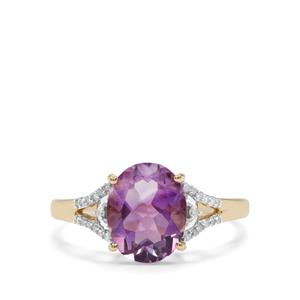 Moroccan Amethyst Ring with Diamond in 10K Gold 2.42cts
