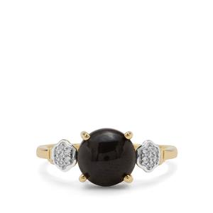 Cats Eye Enstatite Ring with White Zircon in 9K Gold 3.09cts