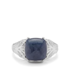 Sugarloaf Ceylon Blue Sapphire Ring with White Zircon in Sterling Silver 7.75cts