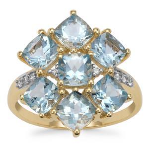 Santa Maria Aquamarine Ring with White Zircon in 9K Gold 3.50cts