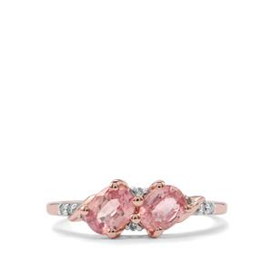 Padparadscha Sapphire Ring with Diamond in 9K Rose Gold 1.29cts