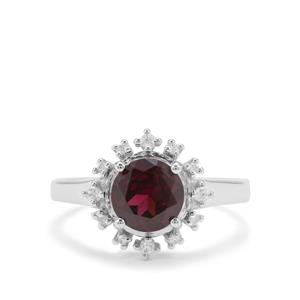 Tocantin Garnet Ring with White Zircon in Sterling Silver 2.05cts