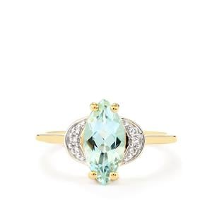 Espirito Santo Aquamarine Ring with White Zircon in 10k Gold 1.45cts