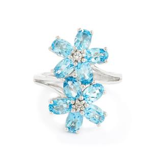 4.76ct Swiss Blue Topaz & White Topaz Sterling Silver Ring