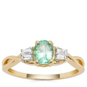 Colombian Emerald Ring with White Zircon in 9K Gold 0.79ct