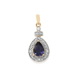 Bengal Iolite Pendant with White Zircon in 10K Gold 0.84ct