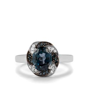 Marambaia London Blue Topaz, White Zircon & Blue Diamond Sterling Silver Ring ATGW 2.27cts