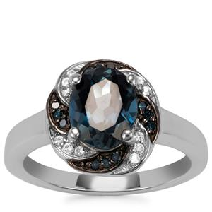 Marambaia London Blue Topaz, White Zircon Ring with Blue Diamond in Sterling Silver 2.27cts