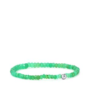 Chrysoprase Stretchable Graduated Bead Bracelet with Silver Ball 28cts