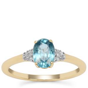 Ratanakiri Blue Zircon Ring with Diamond in 9K Gold 1.35cts