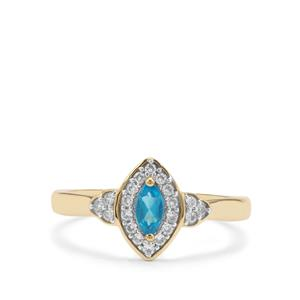 Neon Apatite Ring with White Zircon in 9K Gold 0.52ct