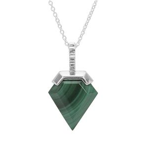 Malachite Pendant Necklace in Sterling Silver 7.42cts