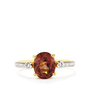 Colour Change Garnet & Diamond 18K Gold Tomas Rae Ring MTGW 2.72cts