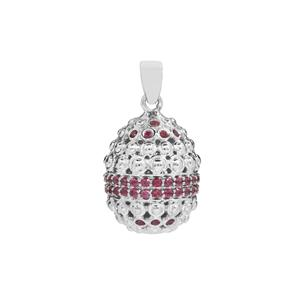 Rhodolite Garnet Moscow Egg Pendant in Sterling Silver 1.80cts