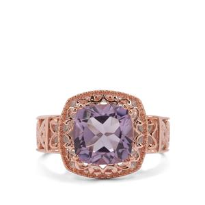 Rose De France Amethyst Ring in Two Tone Rose Gold Plated Sterling Silver 3cts