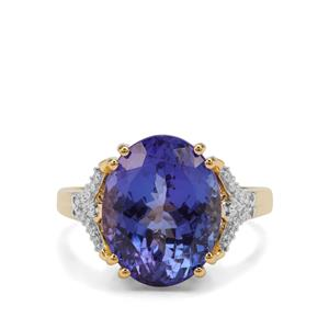AAA Tanzanite Ring with Diamond in 18K Gold 7.90cts