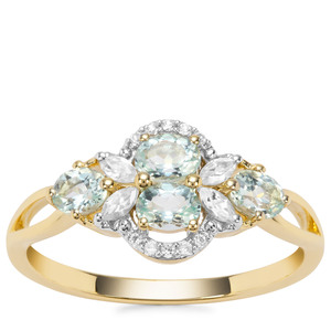 Aquaiba™ Beryl Ring with White Zircon in 9K Gold 0.83cts