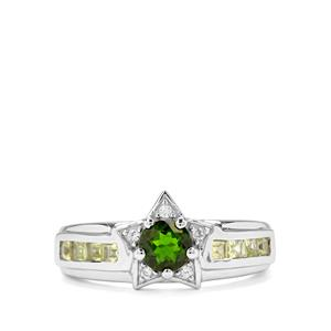 Chrome Diopside, Changbai Peridot & White Zircon Sterling Silver Ring ATGW 0.97cts