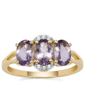 Mahenge Purple Spinel Ring with White Zircon in 9K Gold 1.70cts