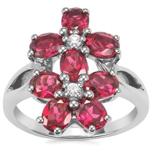 Octavian Garnet Ring with White Zircon in Sterling Silver 3.5cts