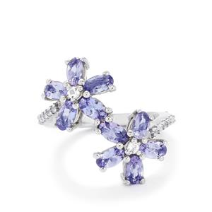 Tanzanite & White Topaz Sterling Silver Ring ATGW 2.46cts