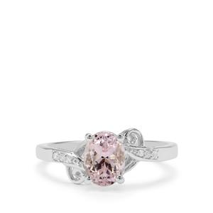 Brazilian Kunzite Ring with White Zircon in Sterling Silver 1.84cts