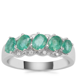 Zambian Emerald Ring with White Zircon in Sterling Silver 1.21cts