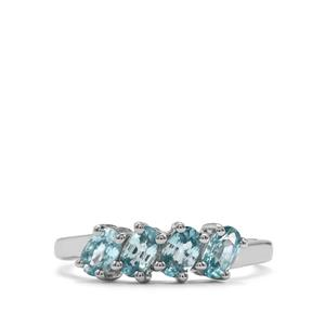 Ratanakiri Blue Zircon Ring in Sterling Silver 1.48cts