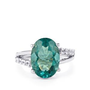 Tucson Green Fluorite & White Topaz Sterling Silver Ring ATGW 7.15cts