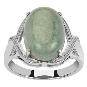 Moss-in-Snow Jade Ring in Sterling Silver 8.79cts