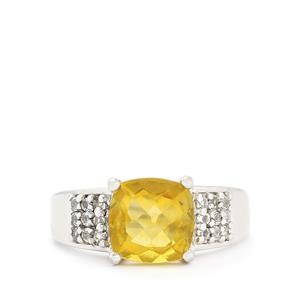 Golden Fluorite Ring with White Topaz in Sterling Silver 3.82cts