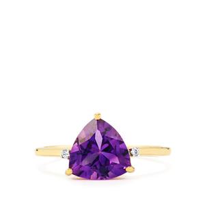 Moroccan Amethyst & White Zircon 9K Gold Ring ATGW 2.21cts