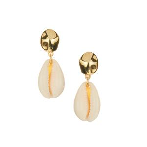 Cowrie Shell Earrings in Gold Tone Sterling Silver (18 x 13mm)