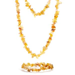 Golden Opal Set of Necklace and Bracelet 321.07cts