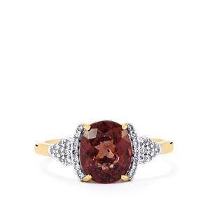 Bekily Color Change Garnet Ring with Diamond in 18k Gold 2.86cts