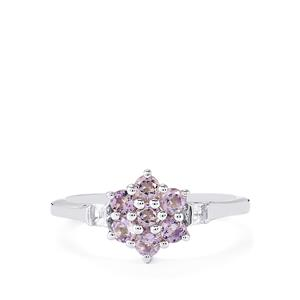 Purple Scapolite Ring with White Topaz in Sterling Silver 0.58cts