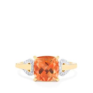 Oregon Sunstone Ring with Diamond in 14K Gold 2.13cts