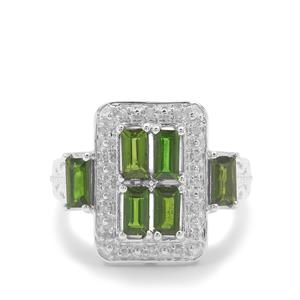 Chrome Diopside & White Zircon Sterling Silver Ring ATGW 1.40cts